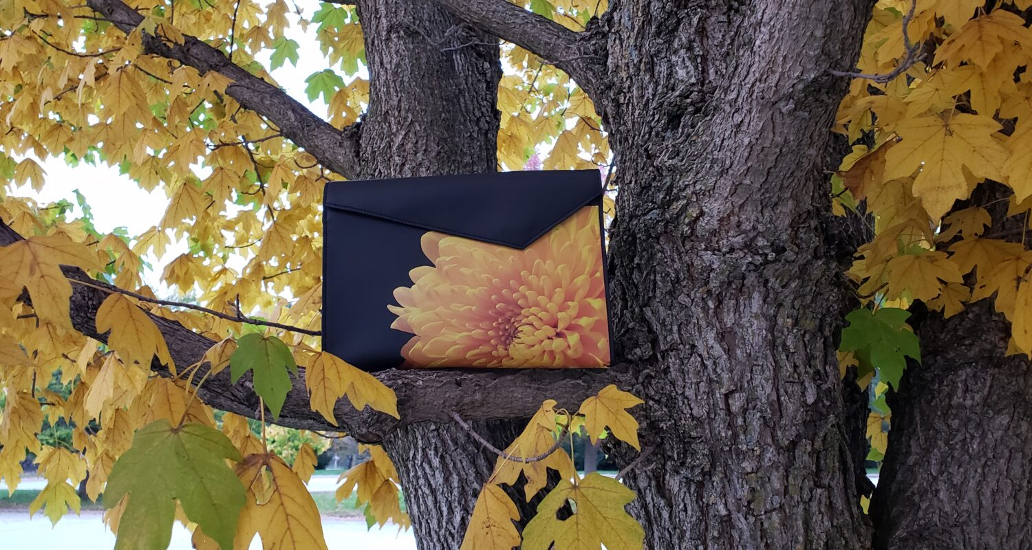 yellow mum leather pouch